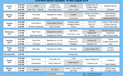 23rd Mind Sports Olympiad, 18-26th August 2019